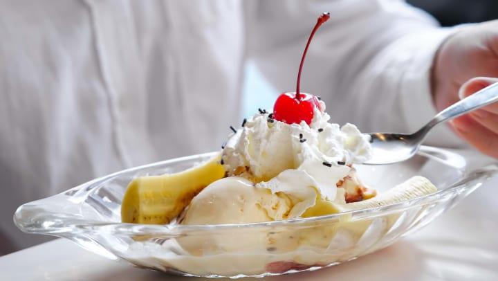 Delicious banana split sundae at an ice cream shot near Olympus Woodbridge
