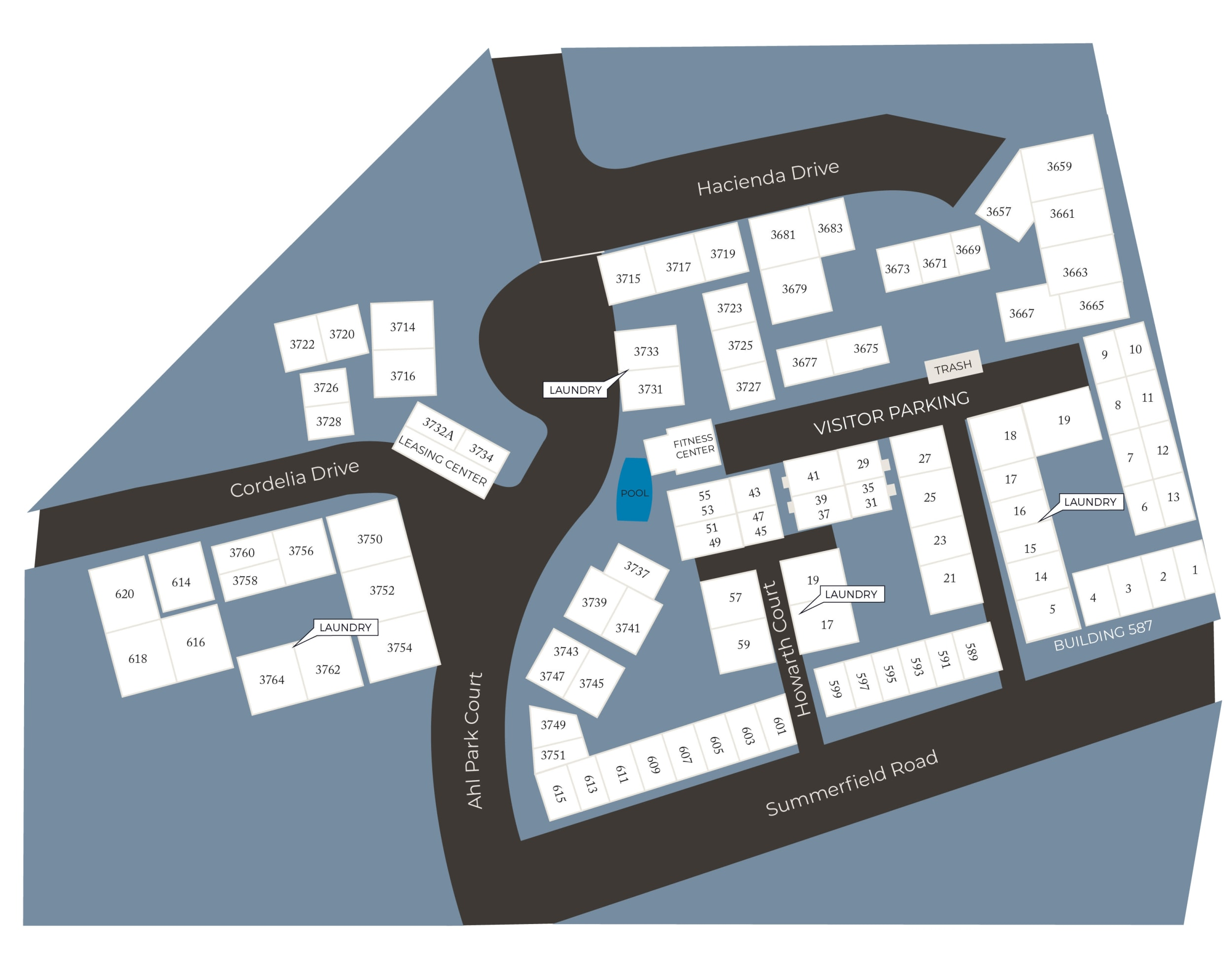 Community site map for Spring Lake Apartment Homes in Santa Rosa, California