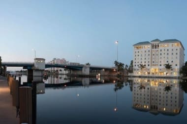 Night view of The Meridian at Waterways in Fort Lauderdale, Florida
