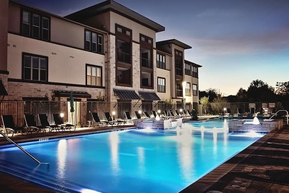 Beach-style pool access at Twin Creeks Crossing in Allen, Texas