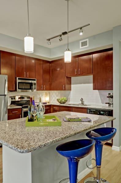 Kitchen island at Linden Pointe in Pompano Beach, Florida