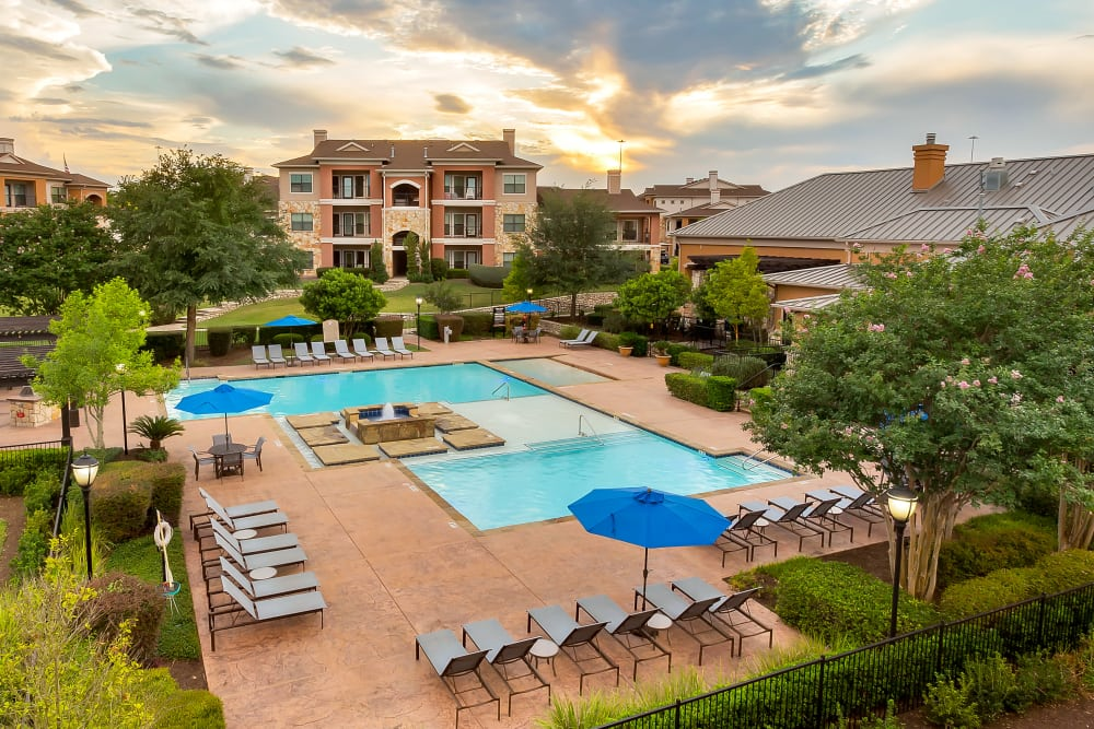 Amazing aerial view of Onion Creek Luxury Apartments in Austin, Texas