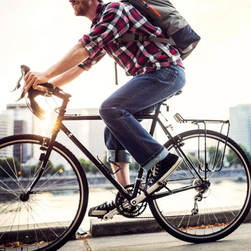 Resident riding their bike in Mukilteo, Washington near Carvel Harbour Pointe