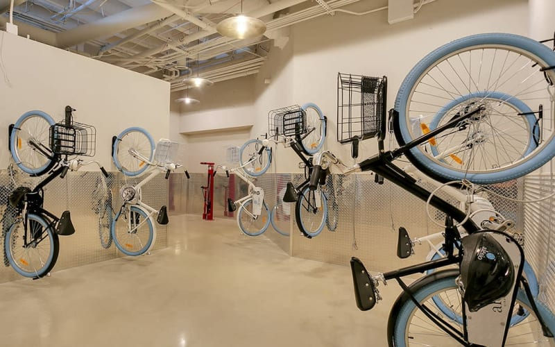 Bicycle racks at Alesio Urban Center in Irving, Texas