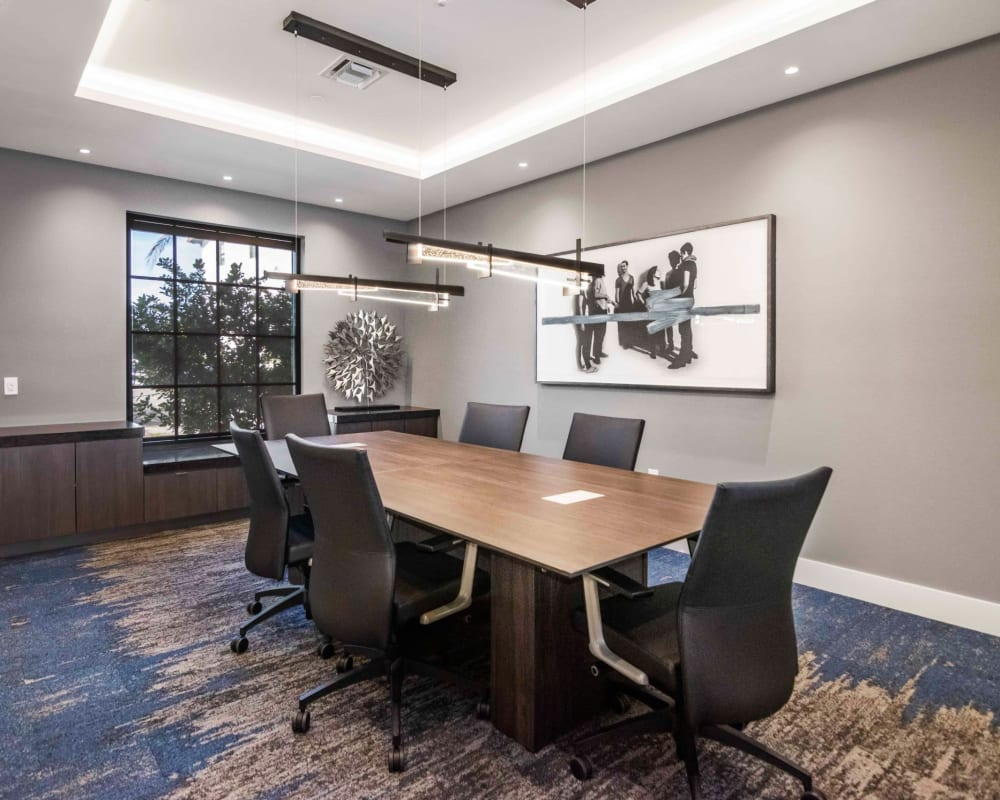Office space area that residents can use for work at 6600 Main in Miami Lakes, Florida