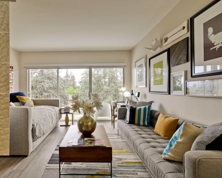Model studio apartment home's well-decorated living area at Mia in Palo Alto, California