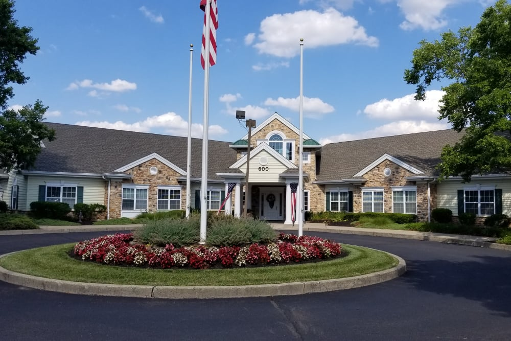 Front entrance at Floral Creek Alzheimer's Special Care Center in Yardley, Pennsylvania