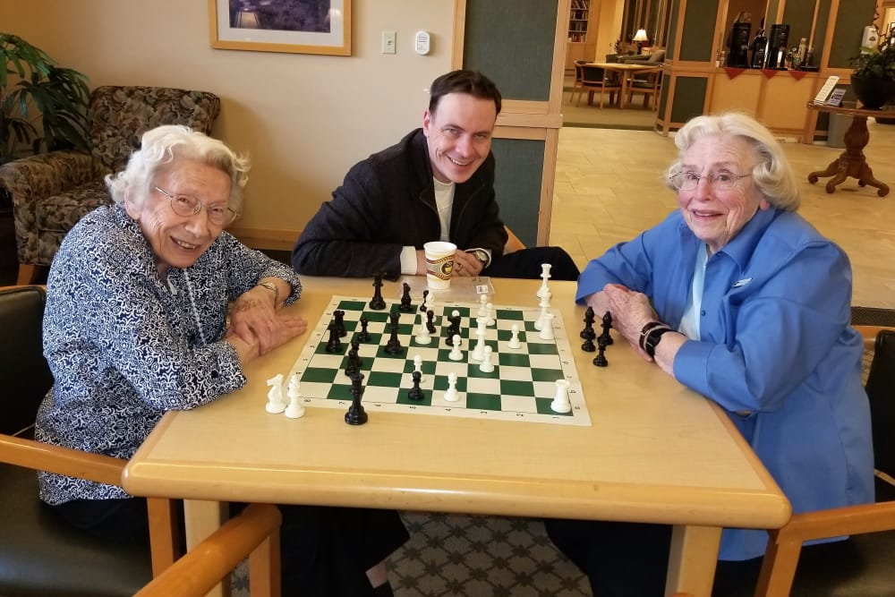 Ladies enjoying chess
