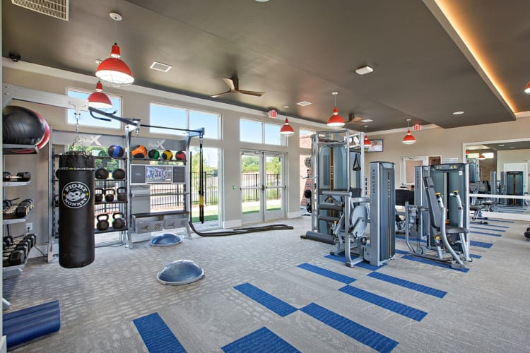 Incredibly spacious fitness area with everything you could need for a hard workout at 8 Metro Station in Charlotte, North Carolina