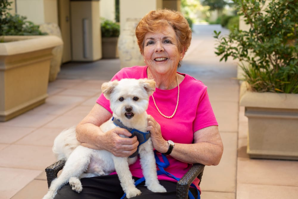 Resident with dog at Merrill Gardens at Brentwood in Brentwood, California