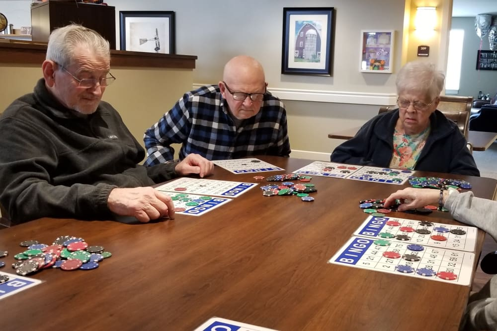 Residents playing a game at Emery Place in Robins, Iowa