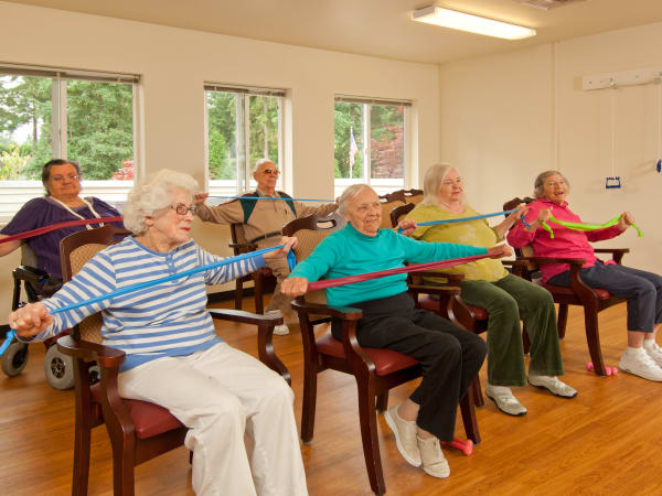 Residents in an exercise class at Patriots Glen in Bellevue, Washington.