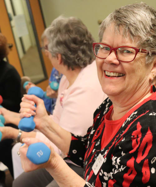 Residents using hand weights at The Springs at Missoula in Missoula, Montana
