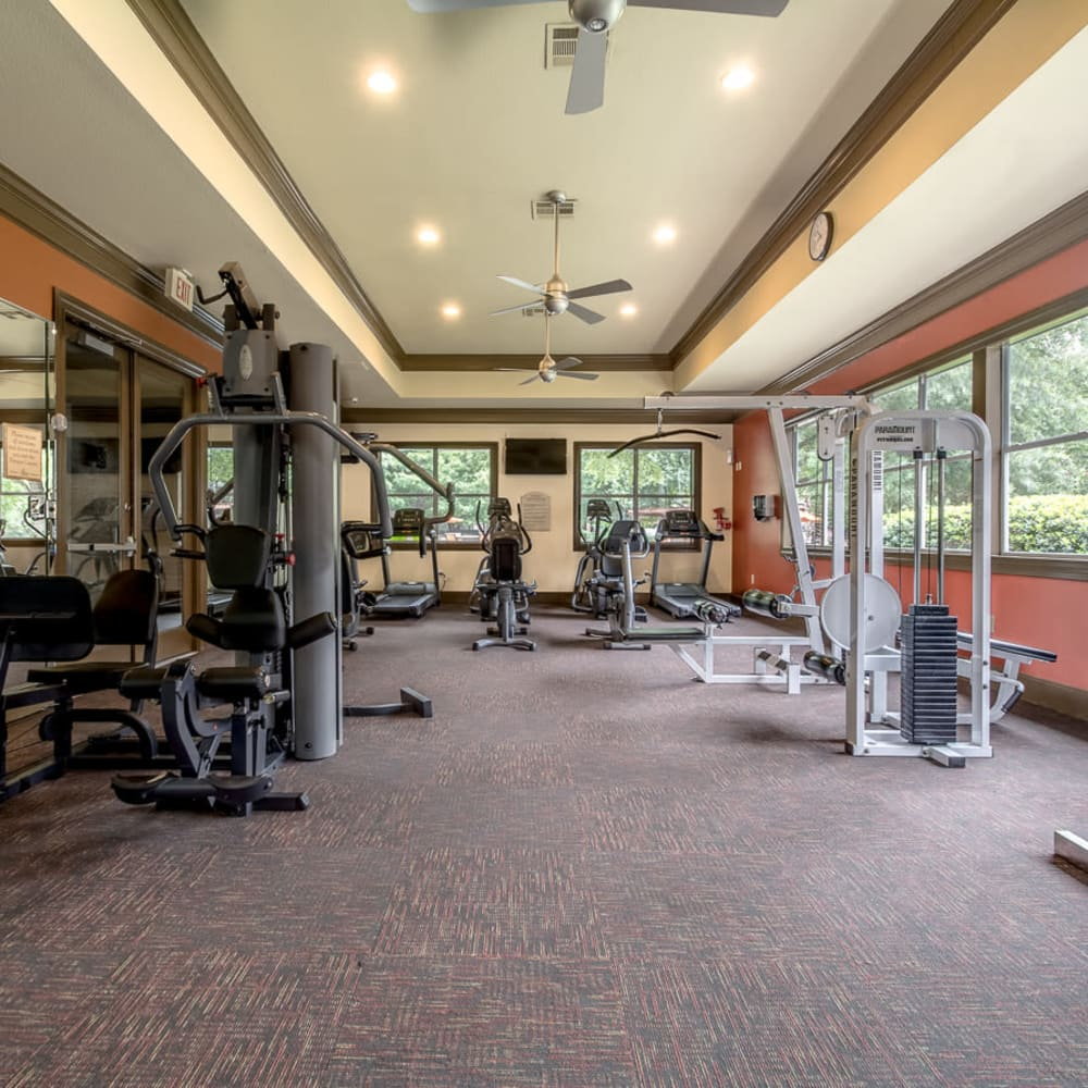 Fitness center with individual work stations at Alon at Castle Hills in San Antonio, Texas