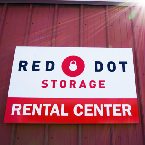 Sign for the rental center at Red Dot Storage in New Lenox, Illinois