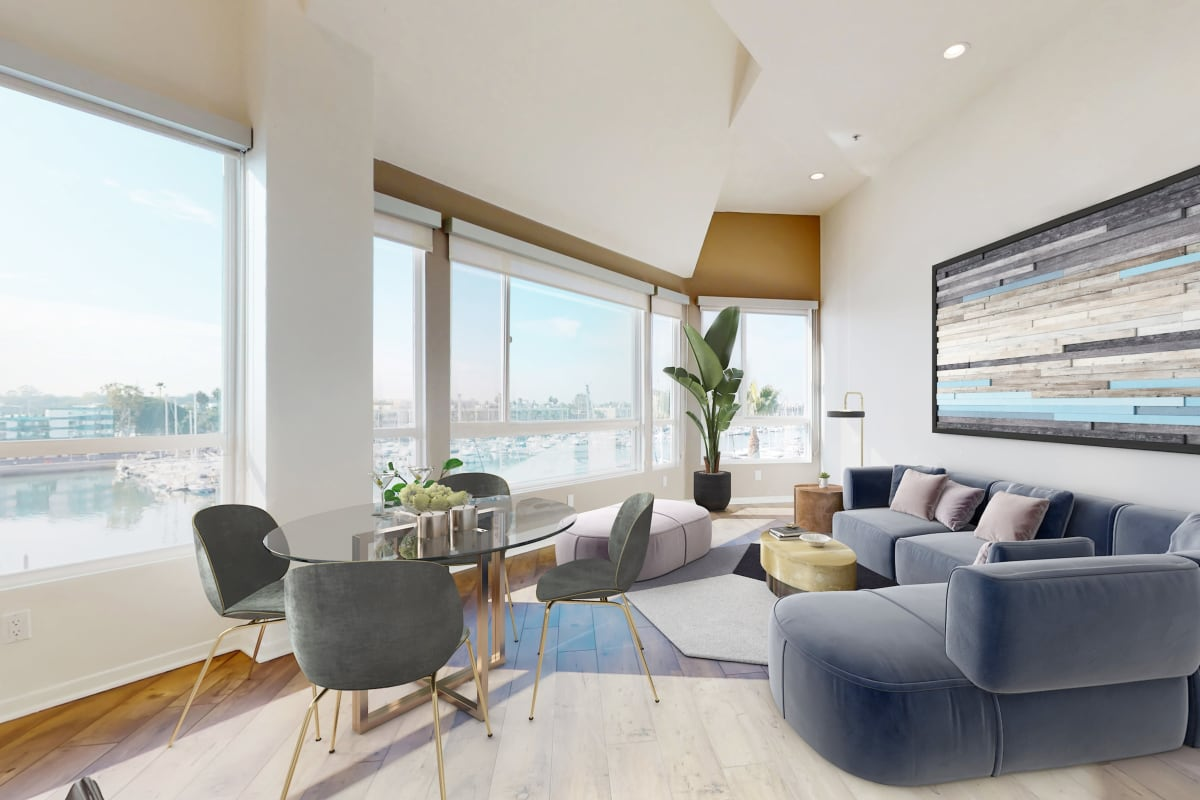 Luxury apartment with large windows and views of the marina channel at Esprit Marina del Rey in Marina del Rey, California