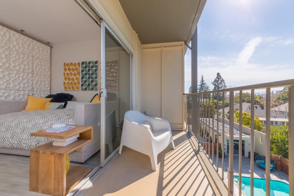 Luxury private balcony at apartments in Palo Alto, California