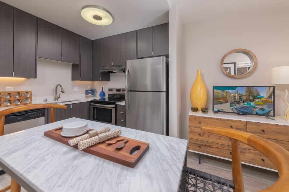 Luxury stainless-steel appliances at apartments in Palo Alto, California