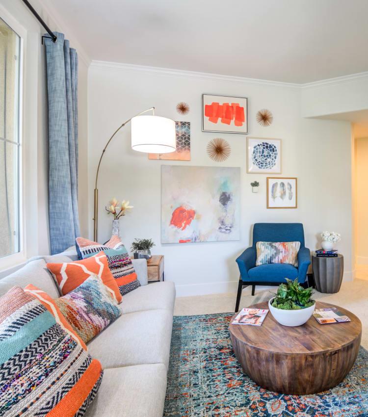 Living room with a large window at Sofi Shadowridge in Vista, California