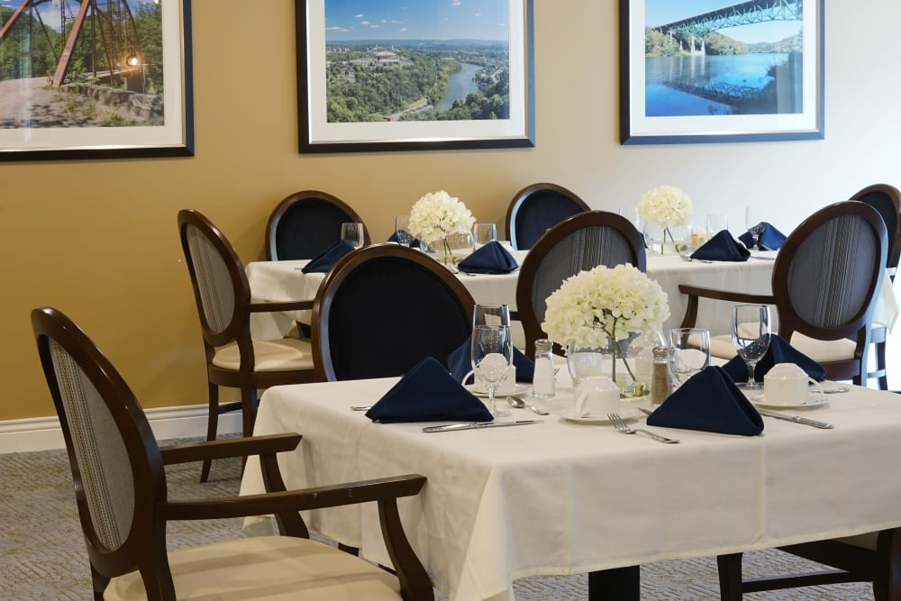 Dining room at Harmony at Morgantown in Morgantown, West Virginia