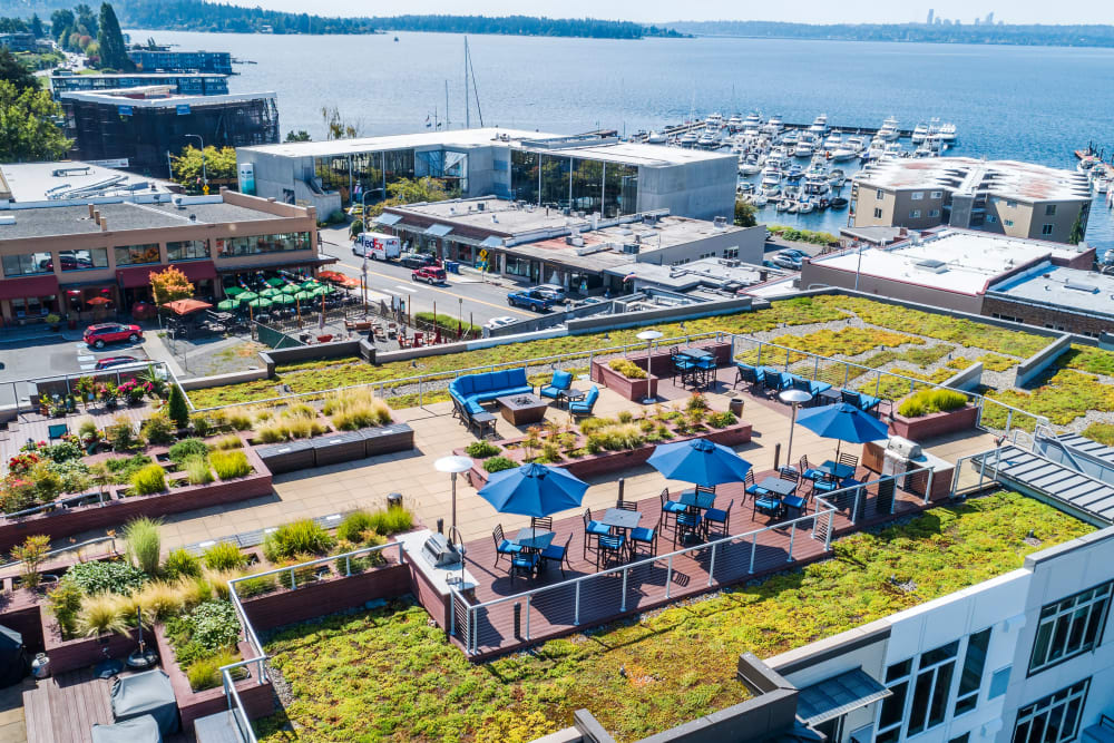 Outdoor rooftop lounge at The 101 in Kirkland, Washington
