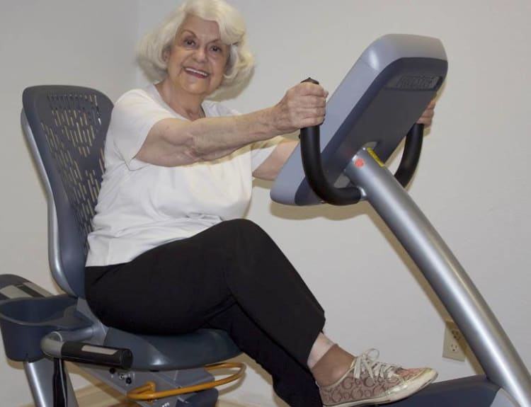 Senior enjoying her workout at The Commons at Woodland Hills in Woodland Hills, California