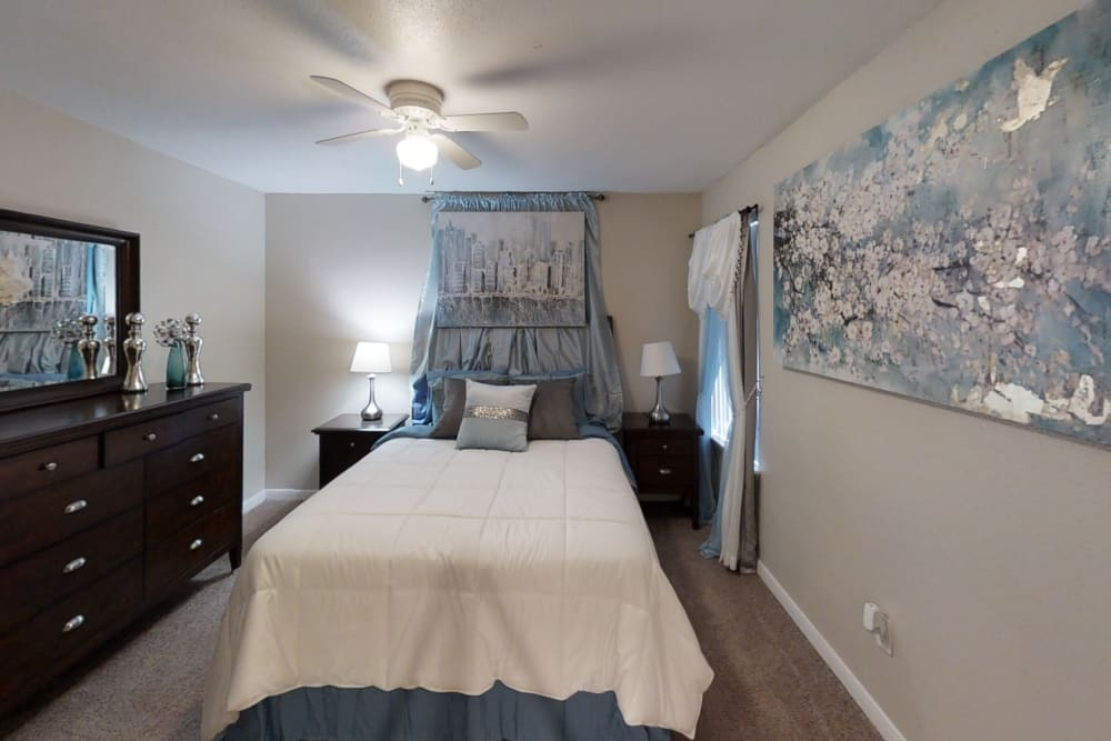 Cozy bedroom at apartments in Houston, Texas