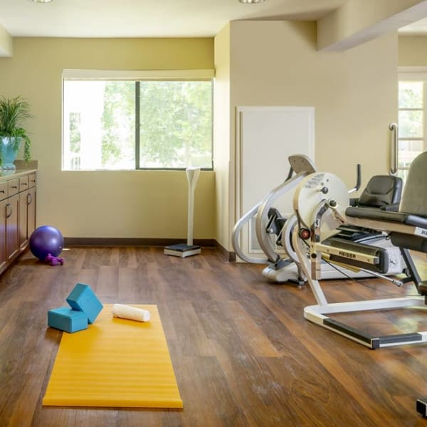 Fitness area at Pacifica Senior Living Fresno in Fresno, California.