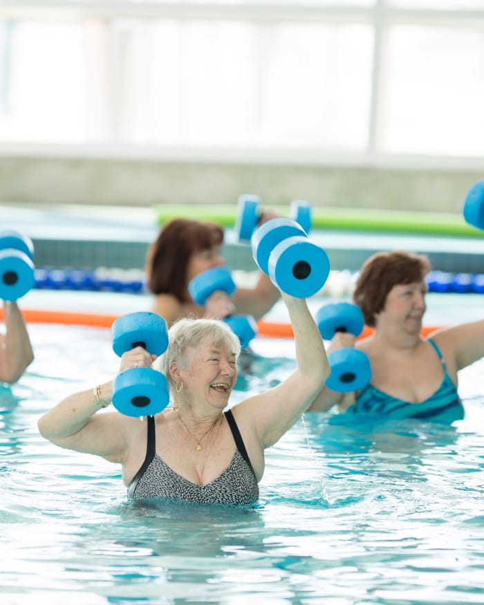 Residents exercising at The Springs at The Waterfront in Vancouver, Washington