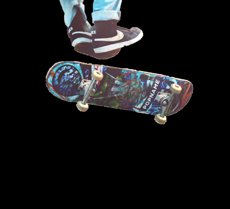 Resident skateboarding near The Moran in Oakland, California