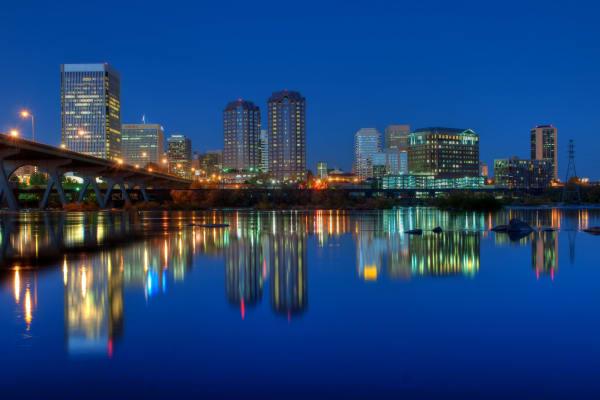 Skyline view of Richmond in Virginia