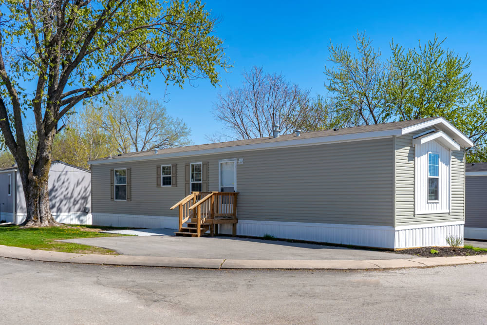 Exterior of a mobile home at Maplewood Estates in Omaha, Nebraska