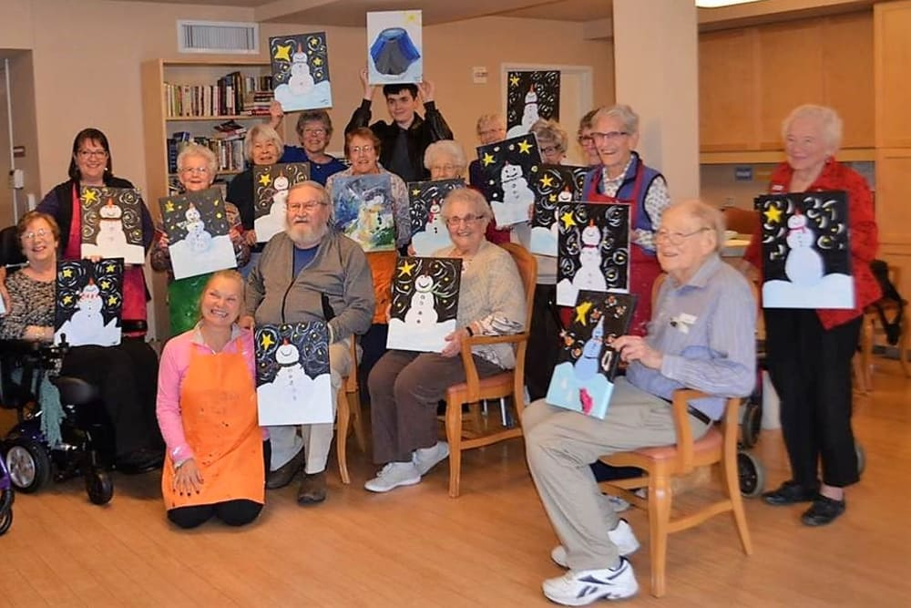 Snowman painting class at our senior living community in Renton, WA