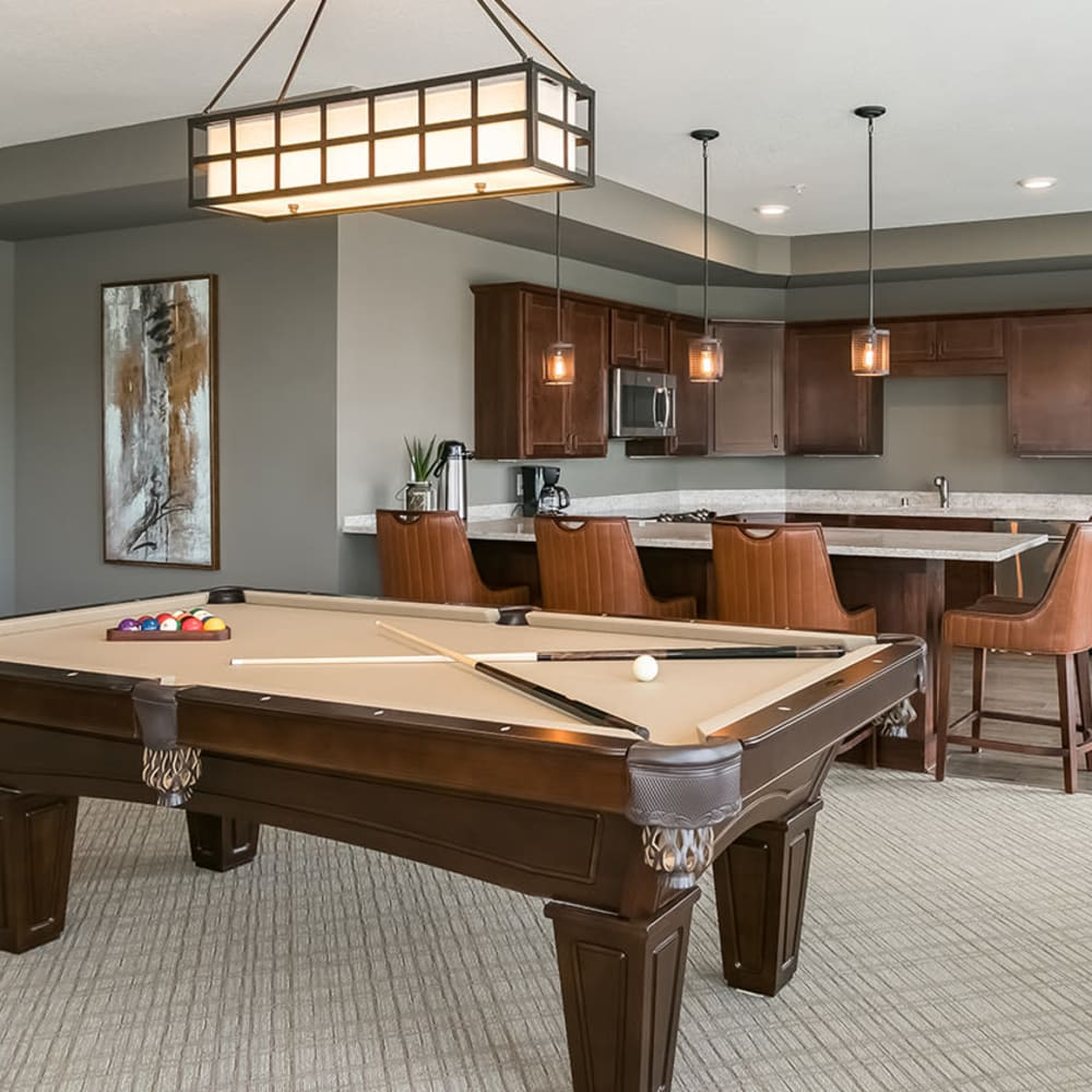 Game room at Applewood Pointe of Westminster in Westminster, Colorado.