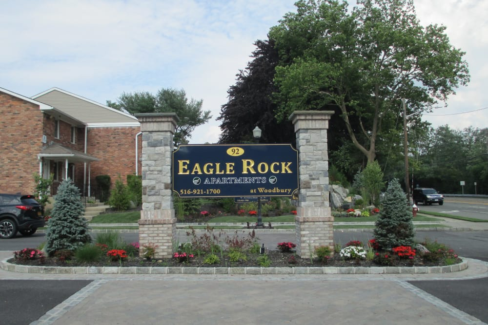 Apartment signage at Eagle Rock Apartments at Woodbury in Woodbury, NY