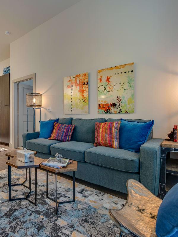 Large beautiful living room windows at Bellrock Upper North in Haltom City, Texas
