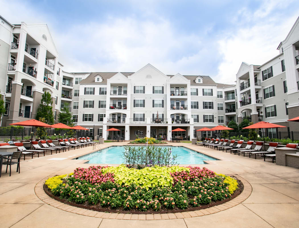 Exterior view of apartments at Emblem Alpharetta in Alpharetta, Georgia