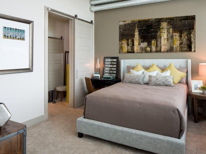 Master bedroom with walk in closet at Altitude in Atlanta, GA