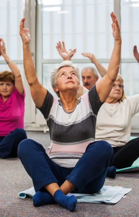 Residents in a wellness class at The Claiborne at Newnan Lakes in Newnan, Georgia.