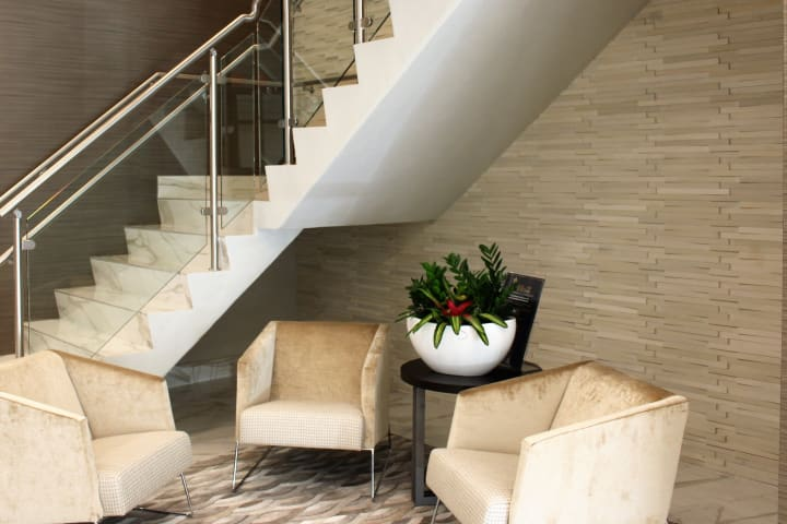 Lobby & Casual Seating Area at the new Discovery Senior Living corporate headquarters in Bonita Springs, Florida.
