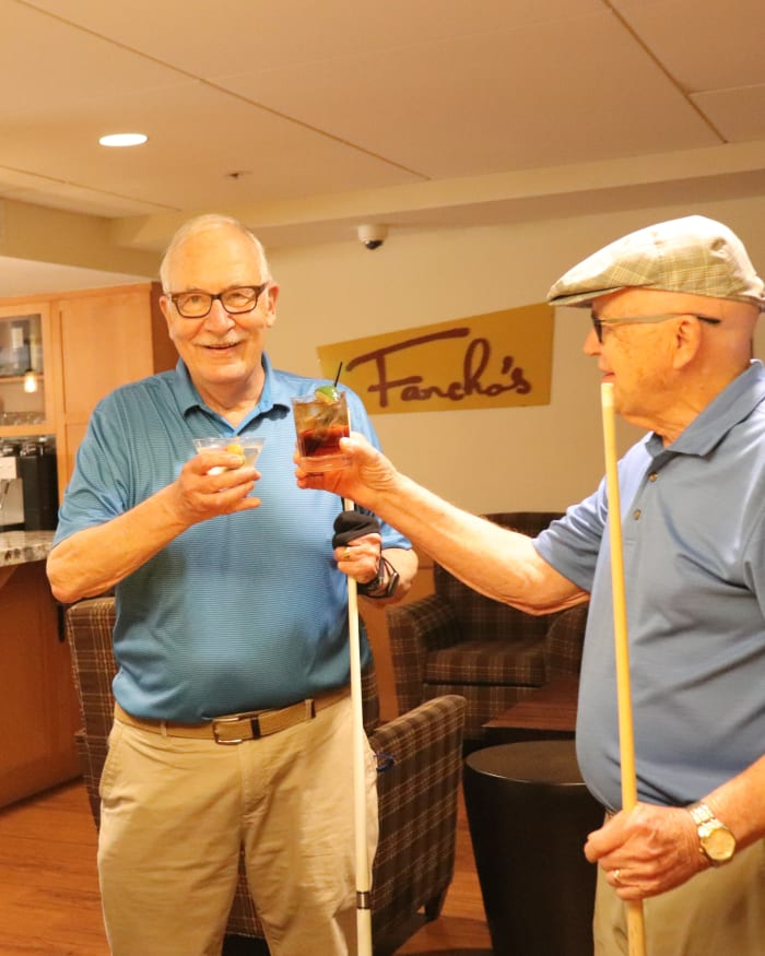 Residents enjoying a beverage at Fancho's at The Springs at Greer Gardens in Eugene, Oregon.