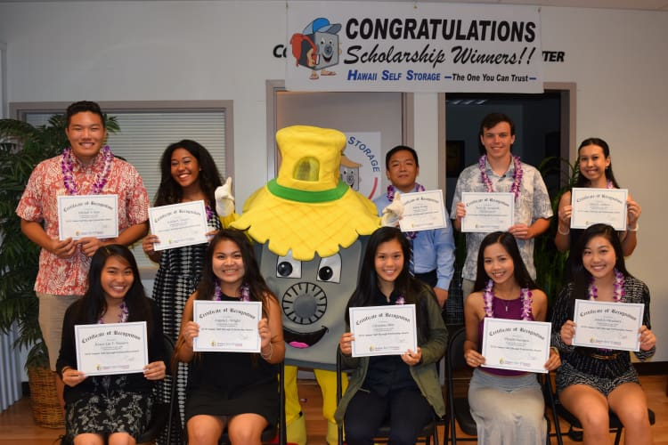 College scholarship winners at Hawai'i Self Storage in Pearl City, HI