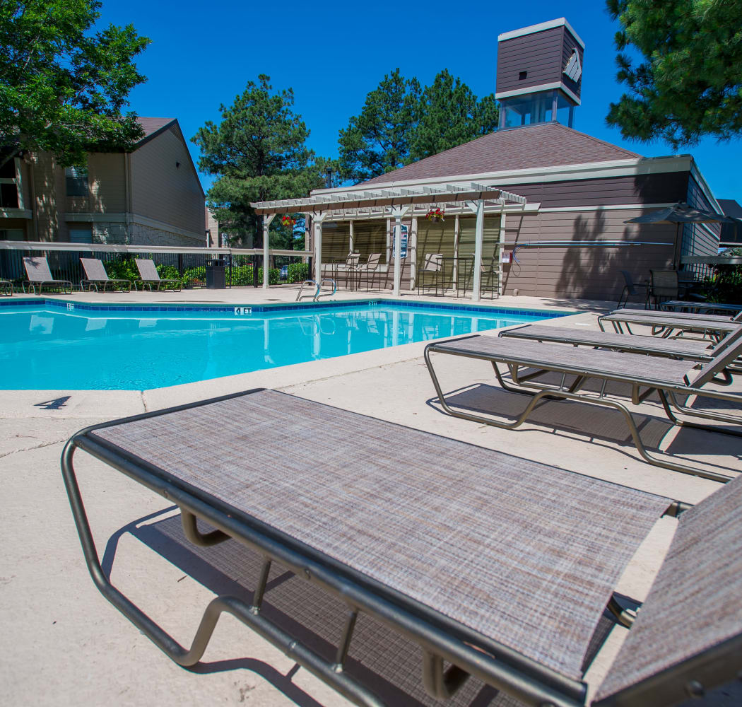 Resort style pool at Eagle Point Apartments in Tulsa, Oklahoma