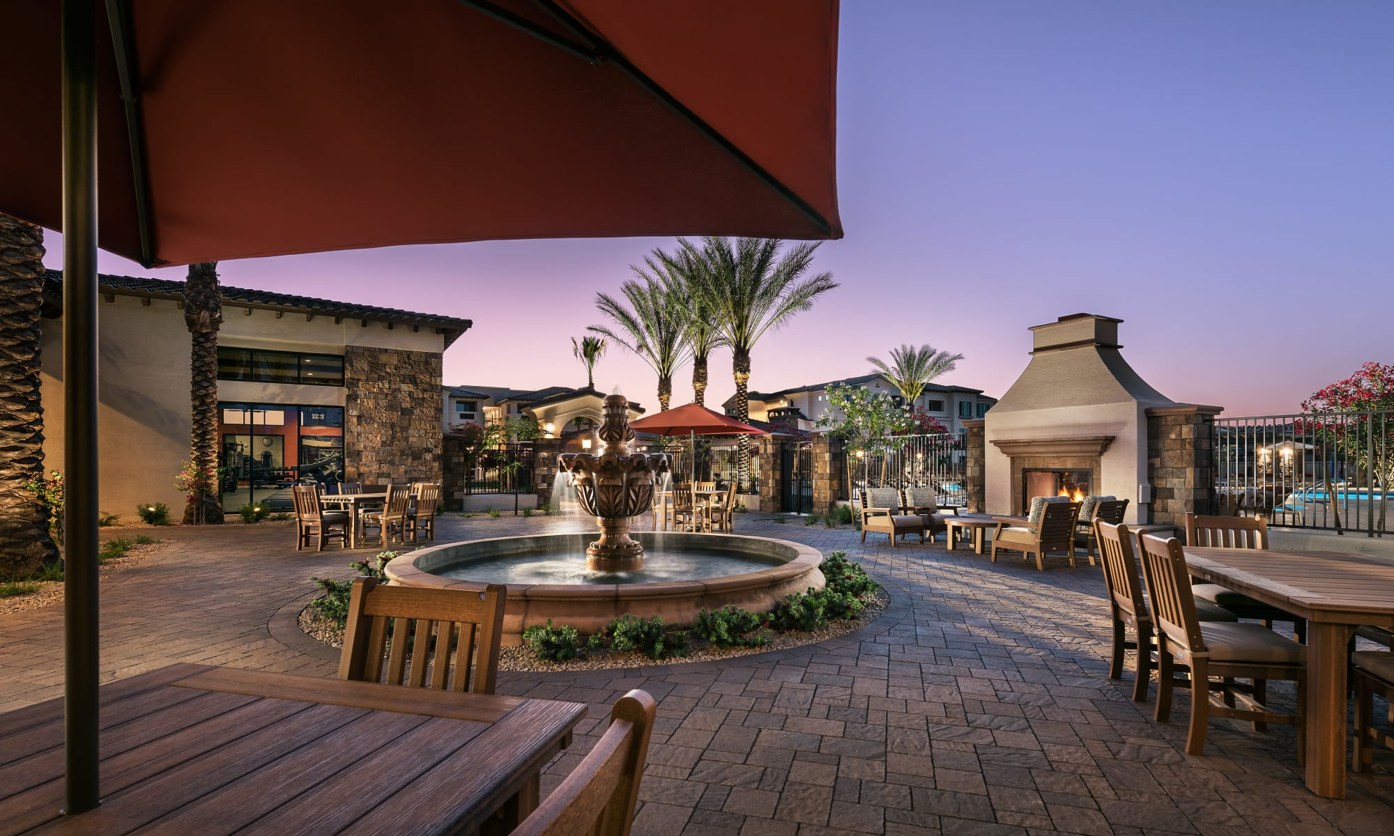 Outdoor fireside community area at San Artes in Scottsdale, Arizona