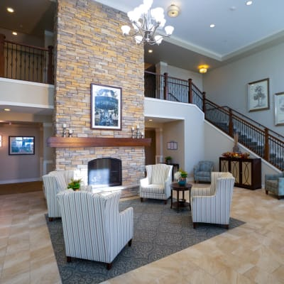 Modern foyer with fireplace at The Sanctuary at St. Cloud in St. Cloud, Minnesota