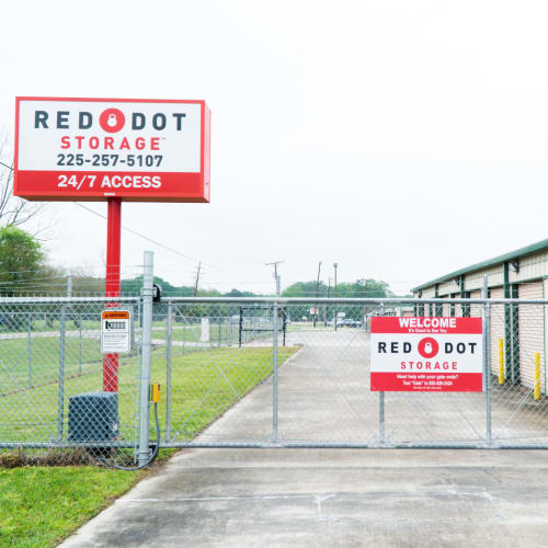 Entrance gate of Red Dot Storage in Baton Rouge, Louisiana