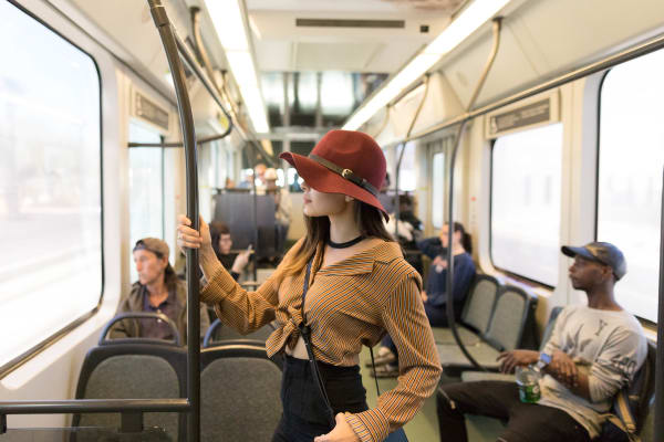 A girl on the max train in Phoenix, Arizona