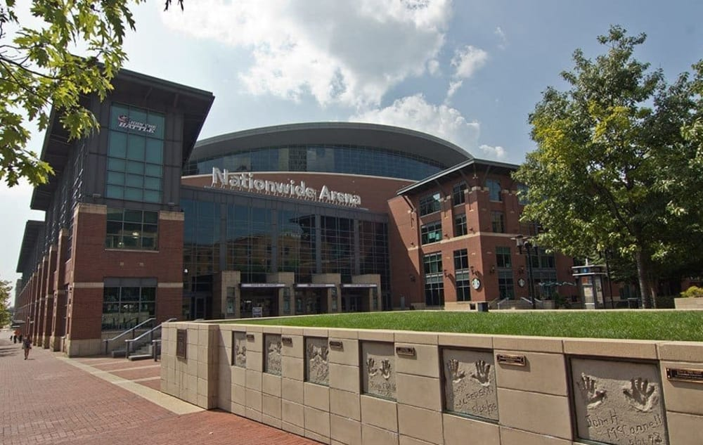 Nationwide Arena near Easton Commons in Columbus, Ohio