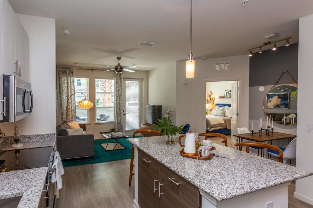 Spacious open-concept floor plan in a model home at 50 Paramount in Sarasota, Florida