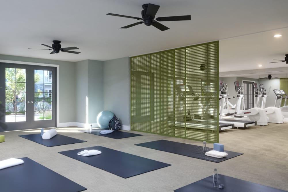 Yoga studio at Avenida Naperville senior living apartments in Naperville, Illinois